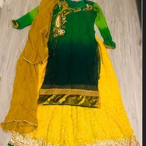 Dresses & Skirts - Mehndi jaggo sangeet sharara yellow and green